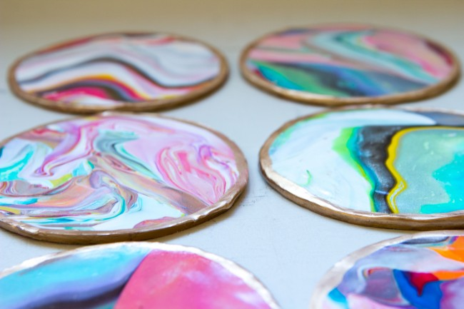 Picture of colorful and golssy diy marble coasters 1 for Homemade coaster ideas