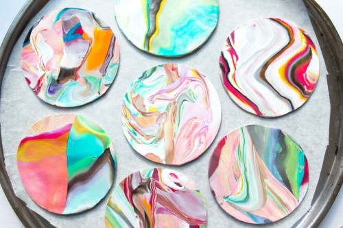 Colorful And Glossy Diy Marble Coasters Shelterness