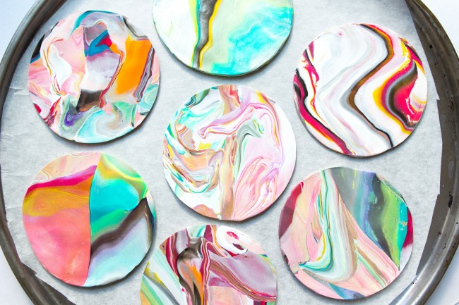 Picture Of colorful and golssy diy marble coasters  10
