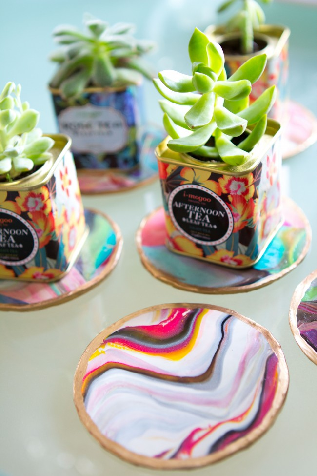 Picture Of colorful and golssy diy marble coasters  3