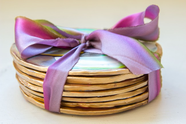 Picture Of colorful and golssy diy marble coasters  5