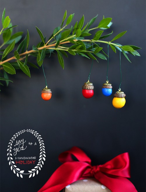 Colorful DIY Acorn Ornaments