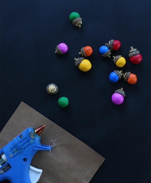Colorful Diy Acorn Ornaments