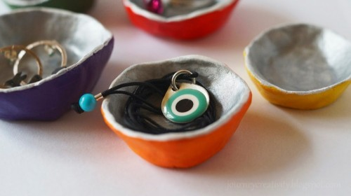 Colorful DIY Air Dry Clay Jewelry Dishes