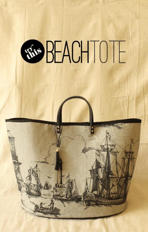 vintage-styled beach tote