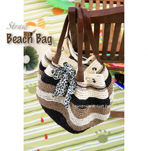 crochet straw beach bag
