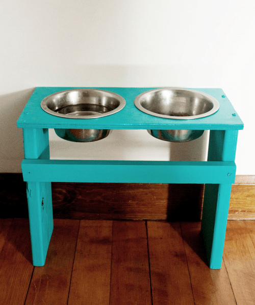 Colorful Diy Dog Bowl Stand Shelterness