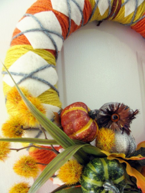 Colorful Diy Fall Wreath Of Yarn