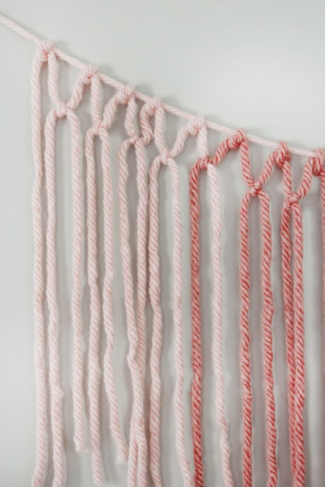 Picture Of colorful diy macrame yarn garland  5