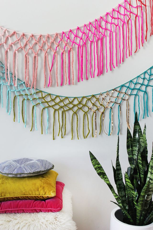 Picture Of colorful diy macrame yarn garland  7