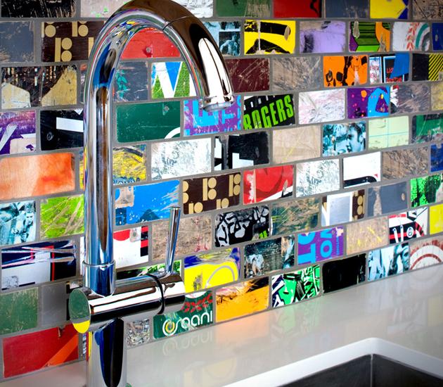 recycled mosaic backsplash