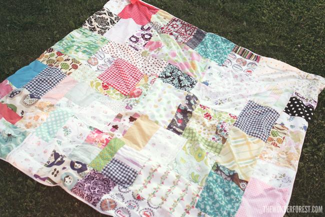 easy patchwork picnic blanket