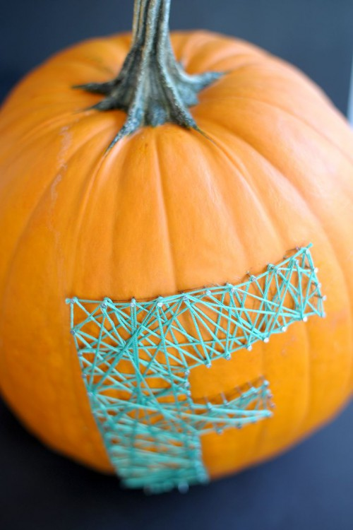 Colorful DIY String Art Pumpkin