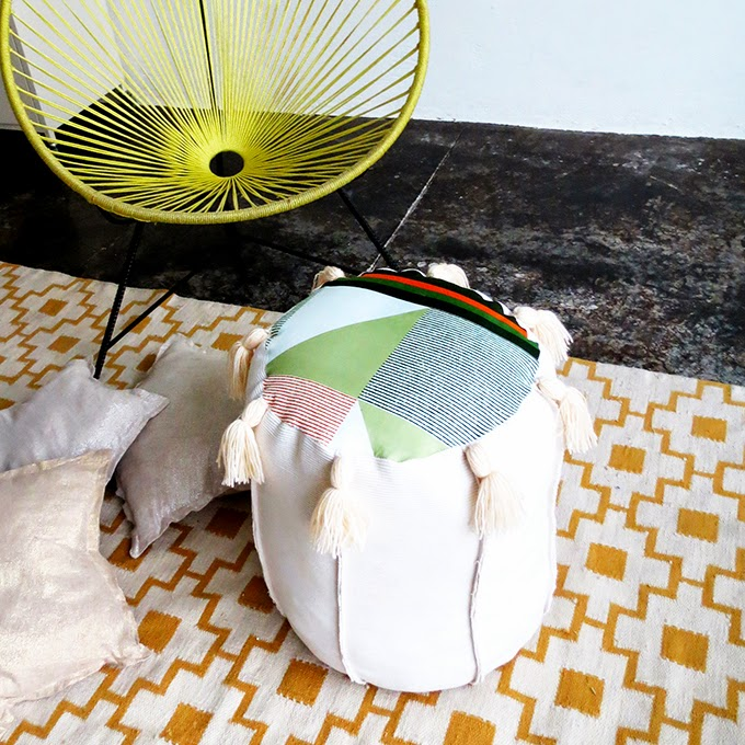 Colorful DIY Tassel Pouf From Old Fabric Straps