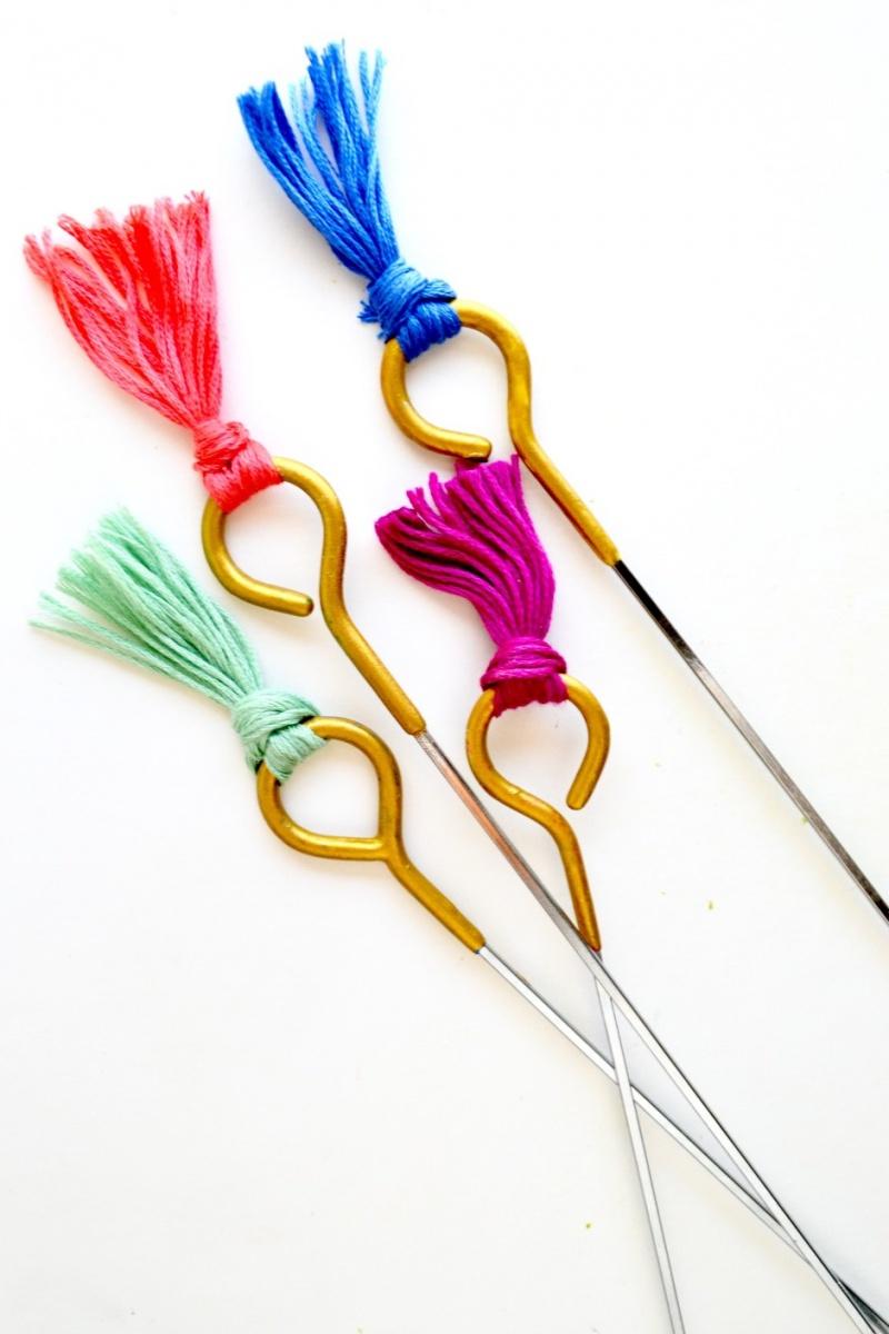Colorful DIY Tasseled Roasting Sticks