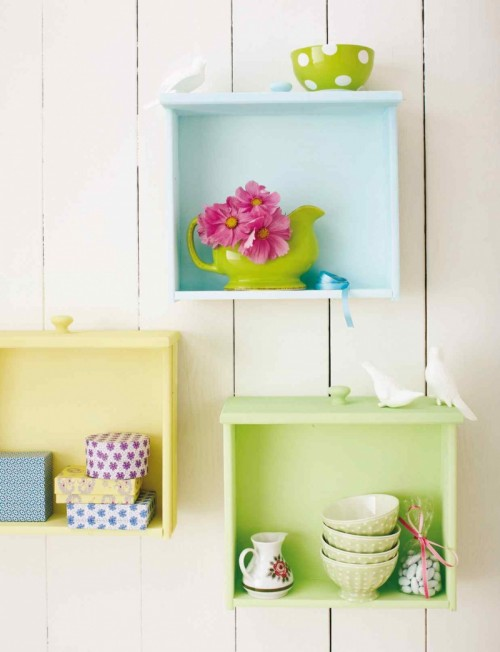 Colorful DIY Wall Shelves Of Used Drawers
