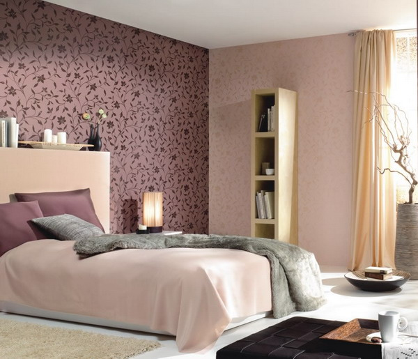 a soft pastel bedroom done in blush and pastels and with a deep purple patterned accent wall for a touch of color