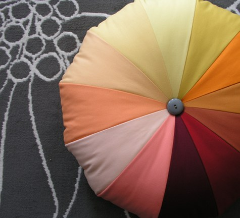 This crafty pouf is a perfect way to add a pop of color to any room. It's large enough to serve as floor seating or a foot stool (via designsponge)