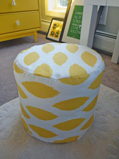 This ottoman is made for nursery and filled with several foam circles (via domesticadventure)