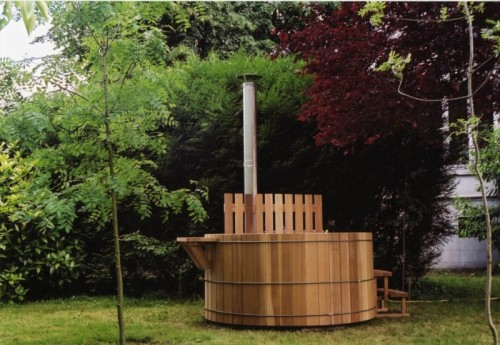 hot tub clad with cedar wood
