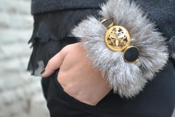 faux fur bracelet