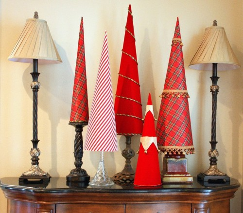 Fabric covered poster board tree cones in different height looks great together.