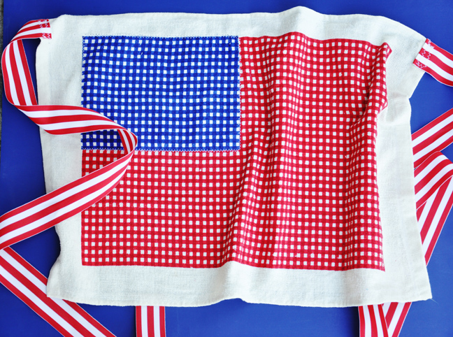patriotic dishtowel apron