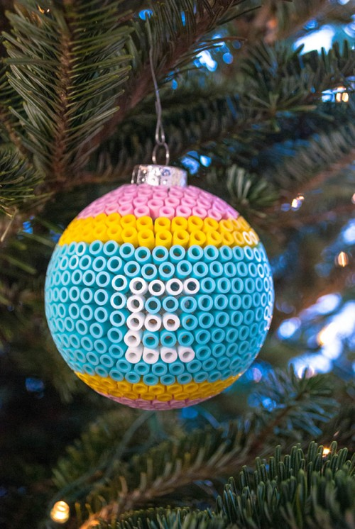 Perler bead ball ornaments (via merrimentdesign)