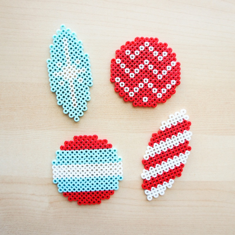 various Perler bead ornaments
