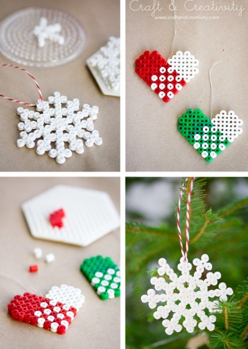 Perler bead ornaments (via shelterness)