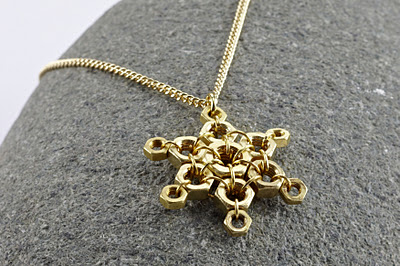 hex nut snowflake necklace