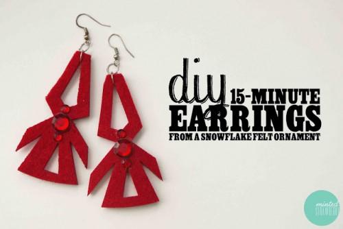 snowflake ornaments into earrings (via mintedstrawberry)