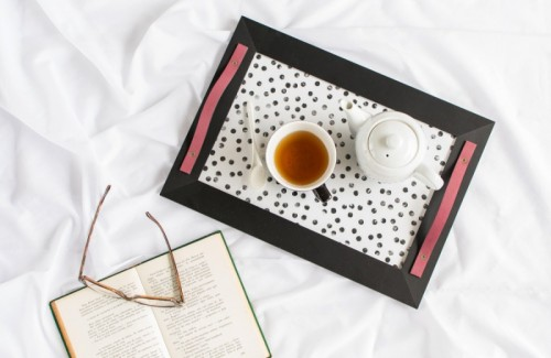 polka dot and leather tray