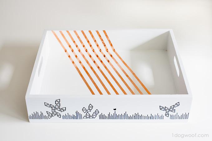 copper striped tray