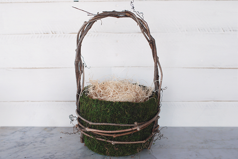 grapevine and moss basket