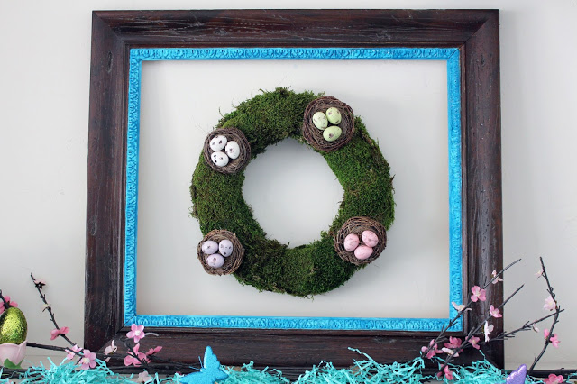 Easter mantel wreath with moss