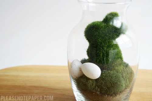 Easter terrarium with moss rabbits