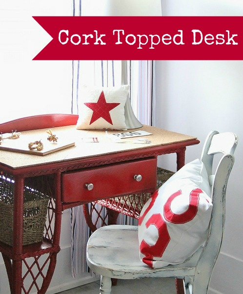 cork topped desk makeover (via thistlewoodfarms)