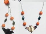 bat and pumpkin Halloween necklace