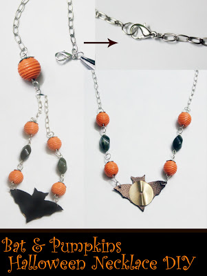 bat and pumpkin Halloween necklace (via jewelsofsayuri)