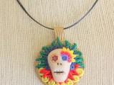 polymer clay skull pendant