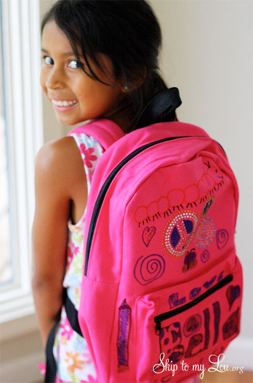 decorated pink backpack