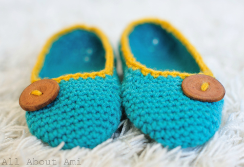 pretty crochet slippers with a button