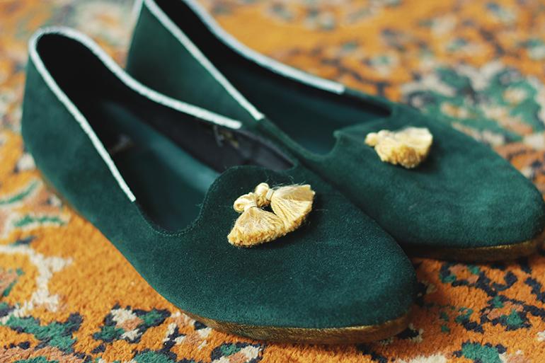 embellished smoking slippers
