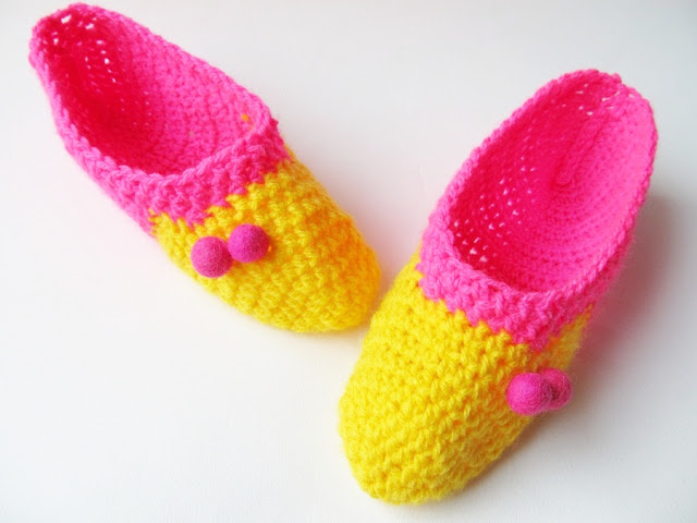 small colorful crochet slippers