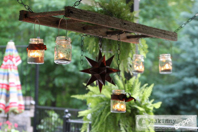 rustic ladder outdoor chandelier