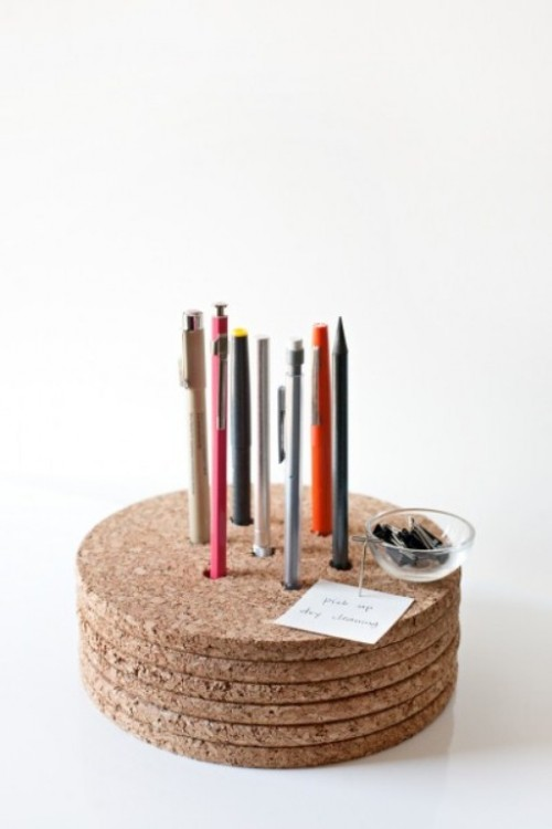 cork pencil holder (via shelterness)