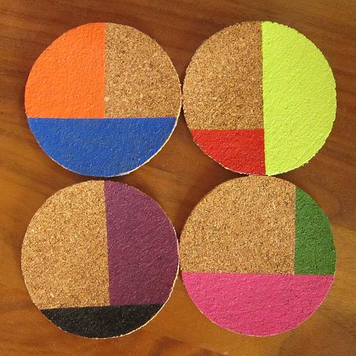 color blocked cork coasters (via justcraftyenough)