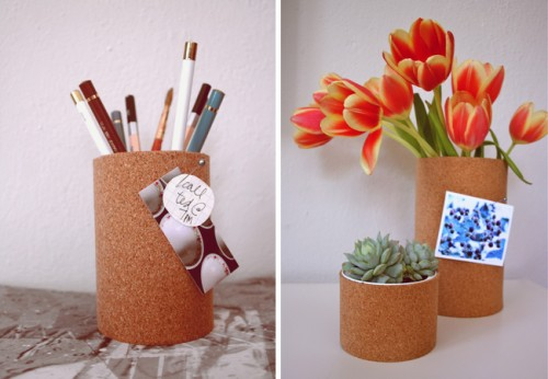cork vases (via papernstitchblog)