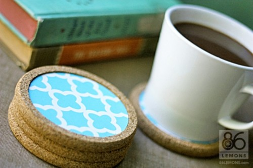 beautifully decorated cork coasters (via shelterness)